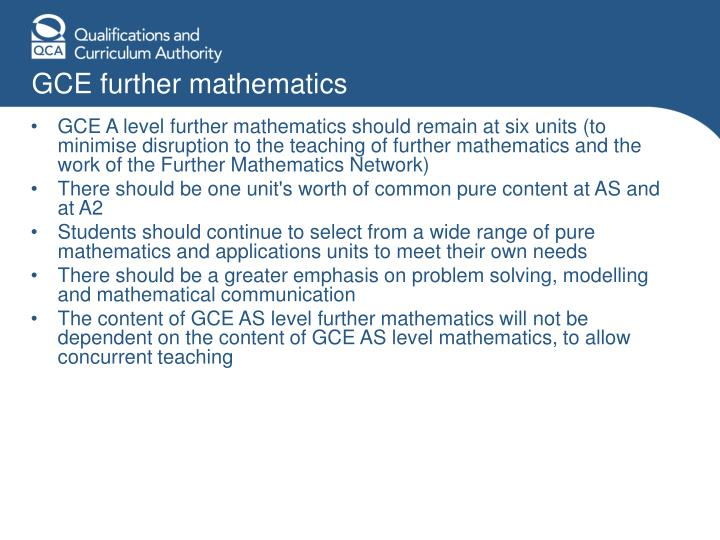 GCE further mathematics