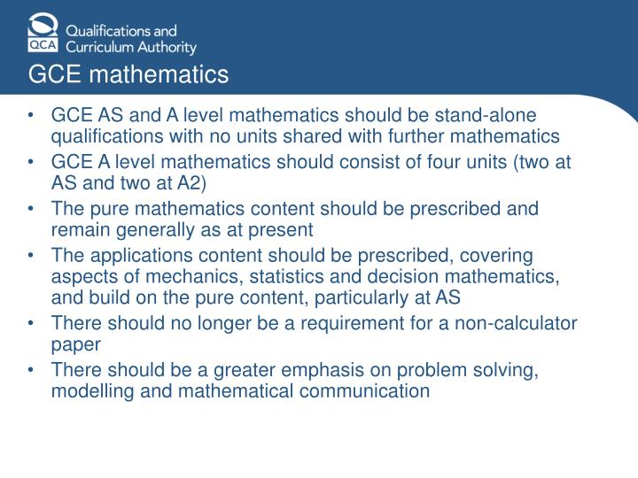 GCE mathematics