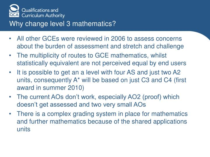 Why change level 3 mathematics?