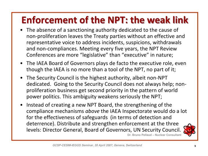 Enforcement of the NPT: the weak link