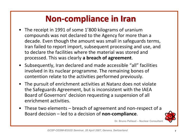 Non-compliance in Iran