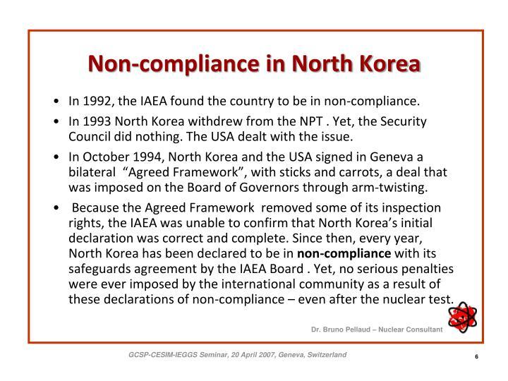 Non-compliance in North Korea
