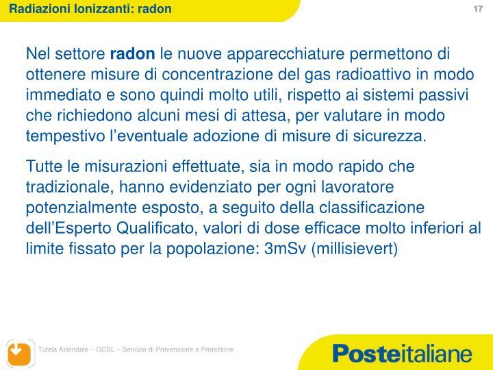 Radiazioni Ionizzanti: radon