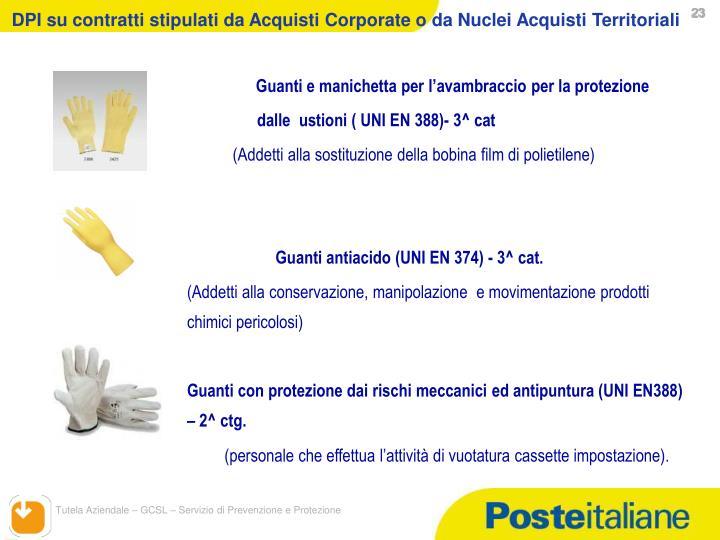 DPI su contratti stipulati da Acquisti Corporate o da Nuclei Acquisti Territoriali