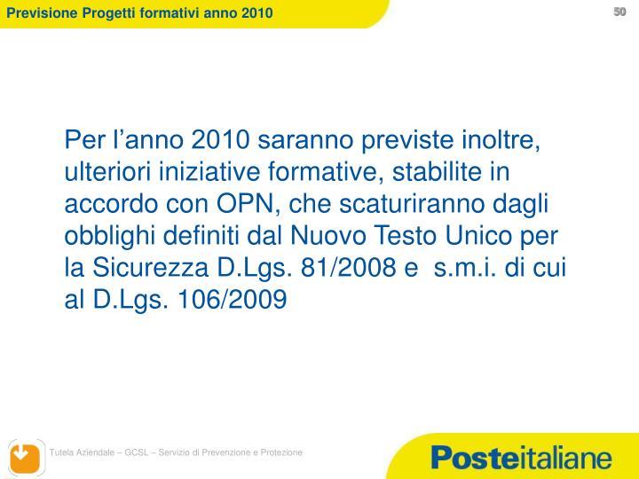 Previsione Progetti formativi anno 2010