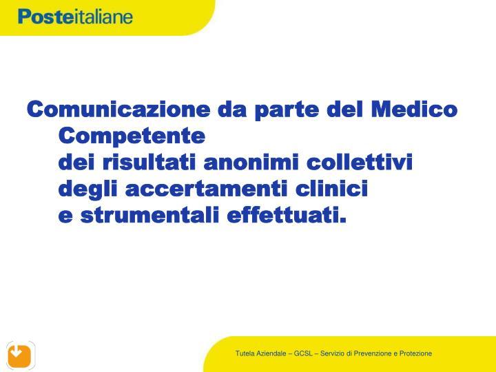 Comunicazione da parte del Medico Competente