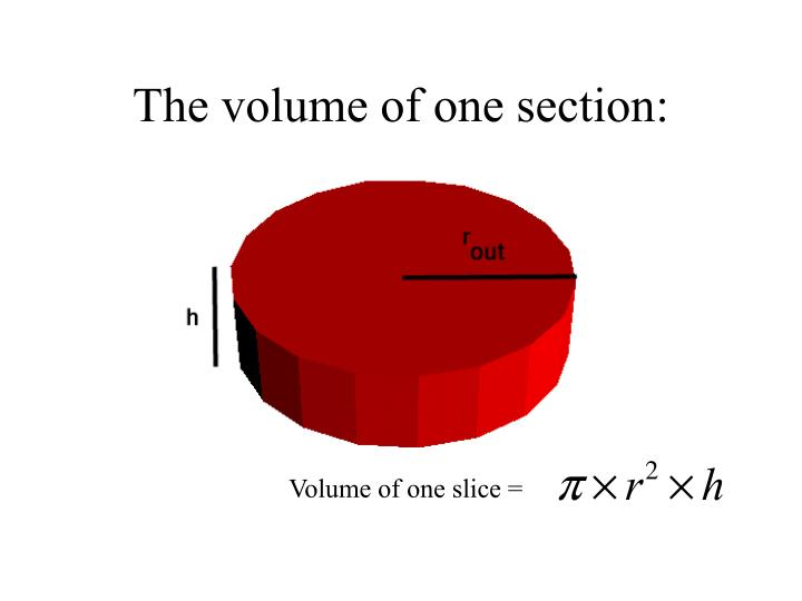 The volume of one section: