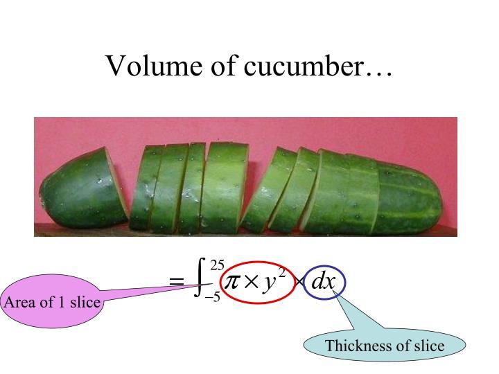 Volume of cucumber…