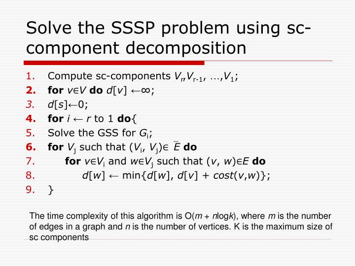 Solve the sssp problem using sc component decomposition