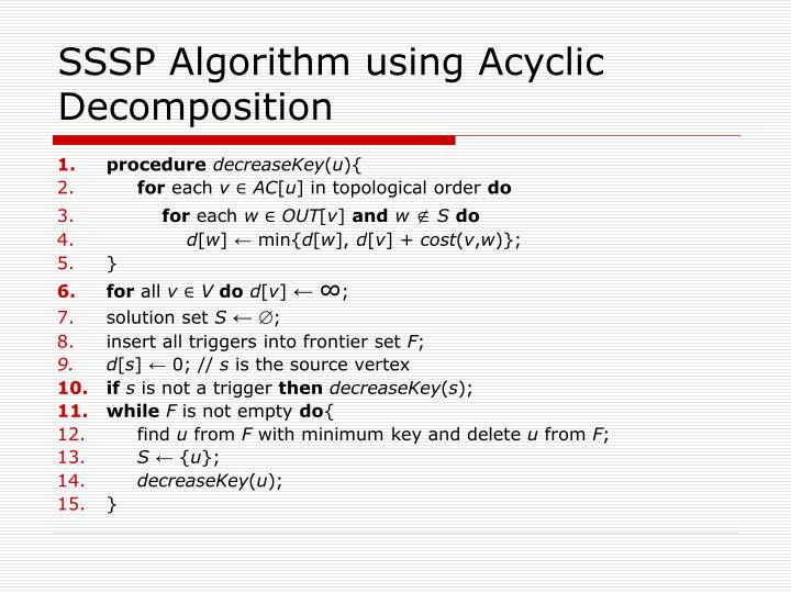 SSSP Algorithm using Acyclic Decomposition