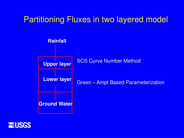 Partitioning Fluxes in two layered model