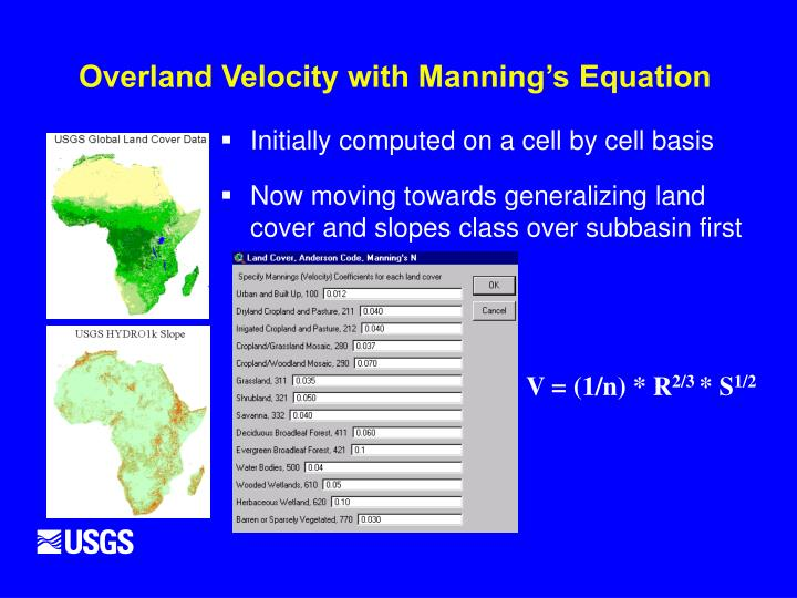 Overland Velocity with Manning's Equation