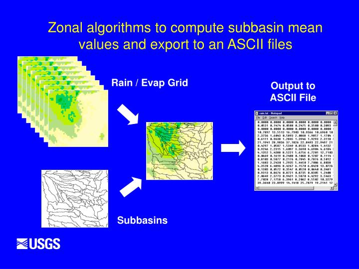 Zonal algorithms to compute subbasin mean values and export to an ASCII files
