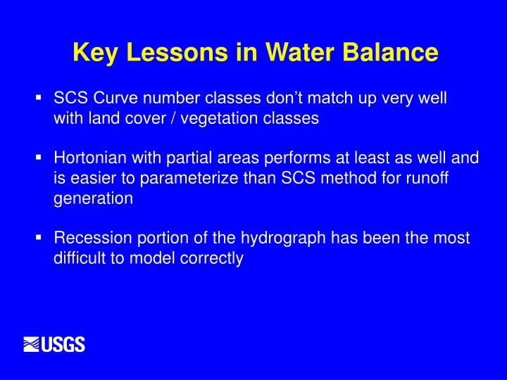 Key Lessons in Water Balance
