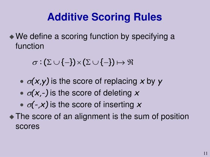 Additive Scoring Rules
