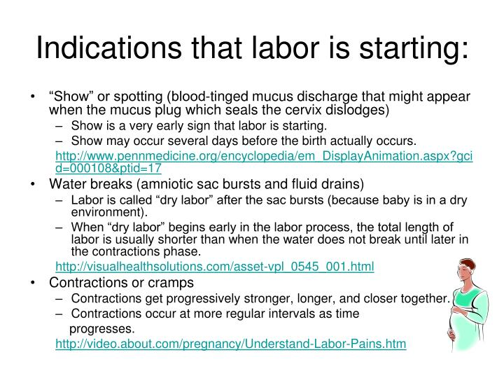 Indications that labor is starting: