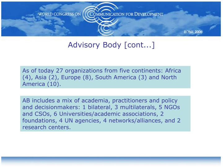 Advisory Body [cont...]