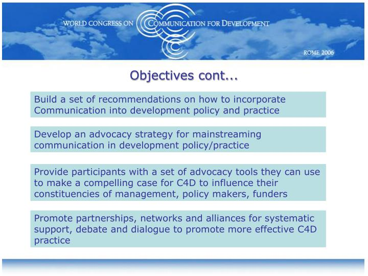 Objectives cont...