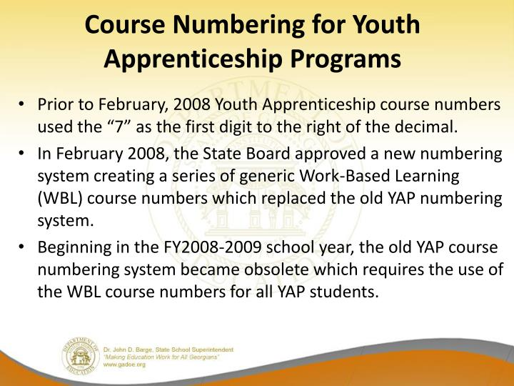 Course Numbering for Youth Apprenticeship Programs