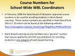 course numbers for school wide wbl coordinators