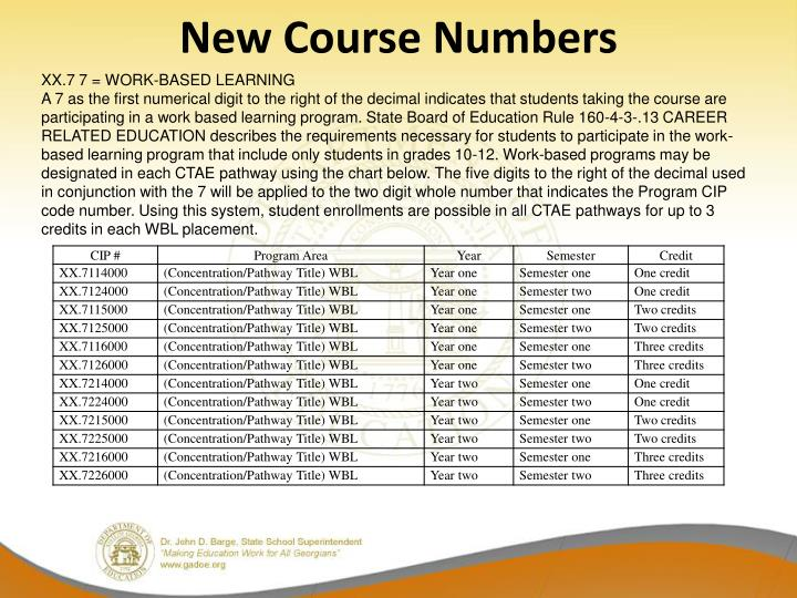New Course Numbers