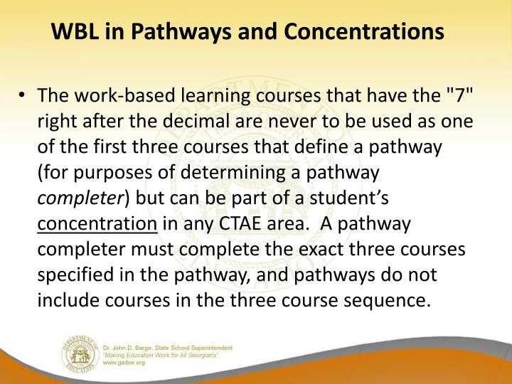 WBL in Pathways and Concentrations
