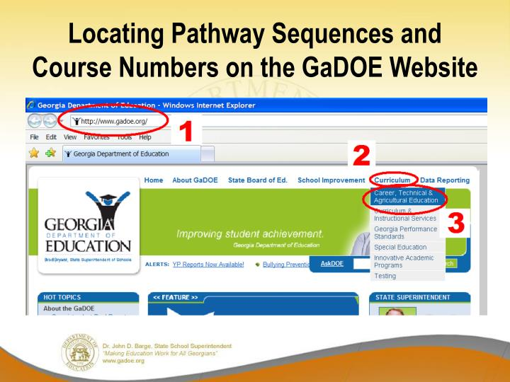Locating Pathway Sequences and Course Numbers on the GaDOE Website