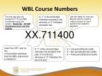 wbl course numbers