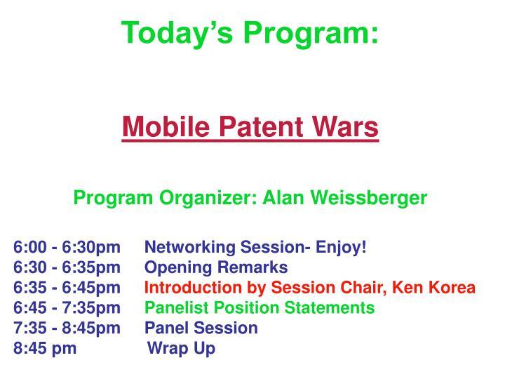 Today's Program: