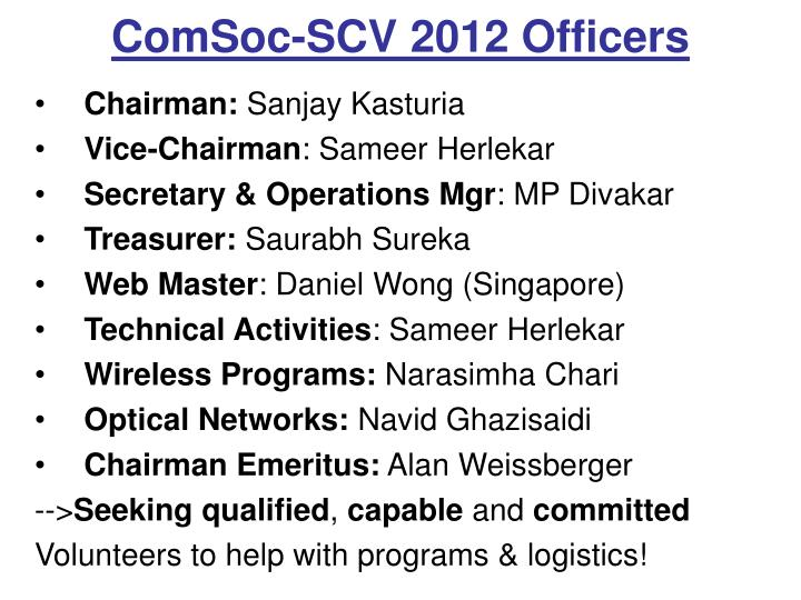 ComSoc-SCV 2012 Officers