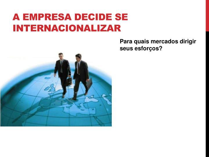 A empresa decide se internacionalizar