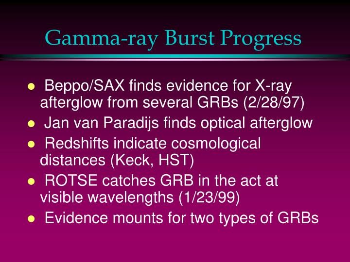 Gamma-ray Burst Progress