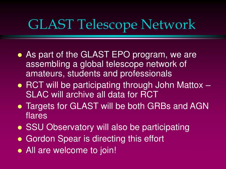 GLAST Telescope Network