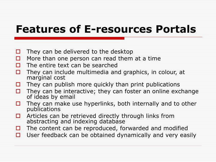 Features of E-resources Portals