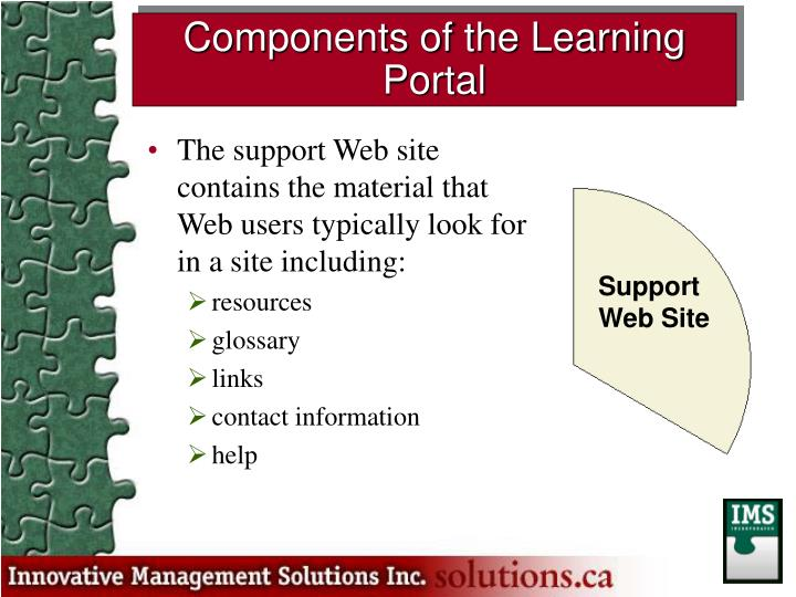 The support Web site contains the material that Web users typically look for in a site including: