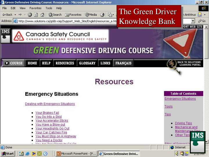The Green Driver Knowledge Bank