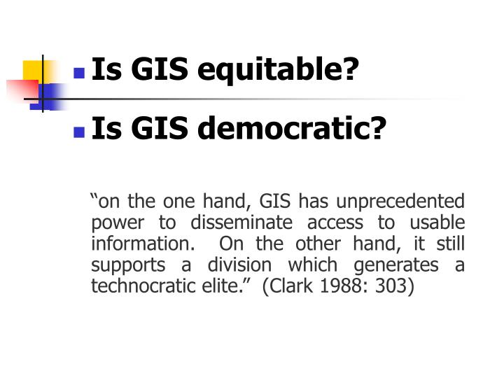Is GIS equitable?