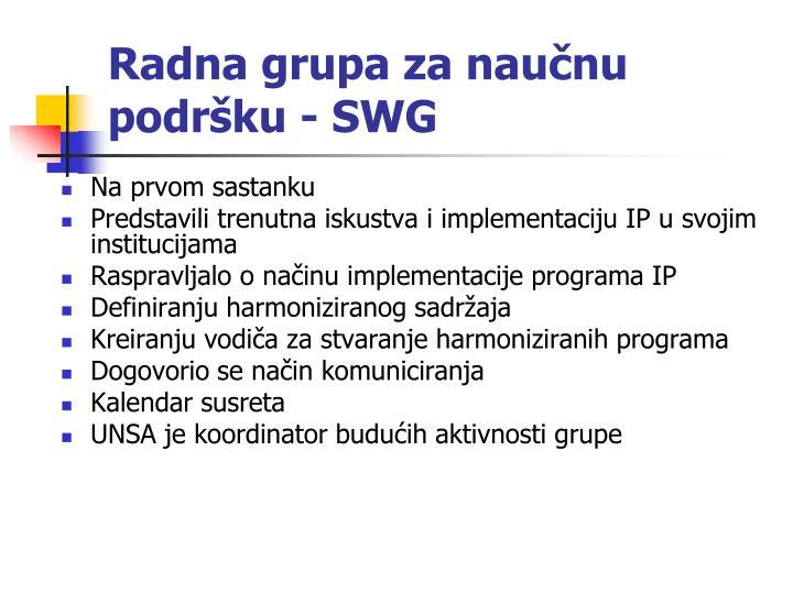 Radna grupa za naučnu podršku - SWG