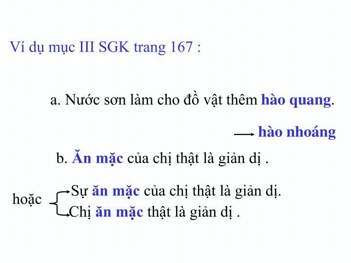 Ví dụ mục III SGK trang 167 :