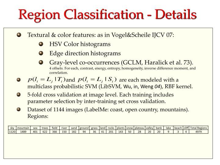 Region Classification - Details