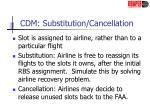 cdm substitution cancellation
