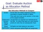 goal evaluate auction as allocation method