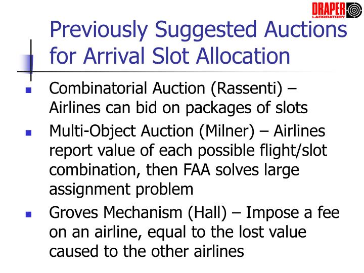 Previously Suggested Auctions for Arrival Slot Allocation
