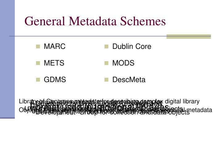 General Metadata Schemes