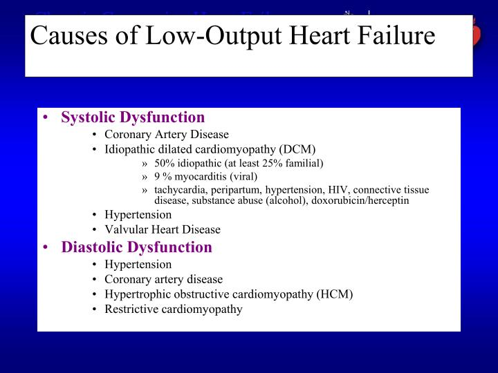 Causes of low output heart failure