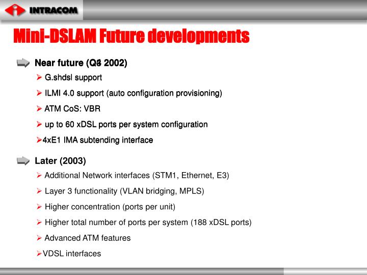 Mini-DSLAM Future developments