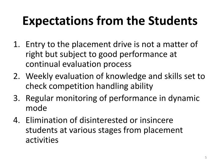 Expectations from the Students