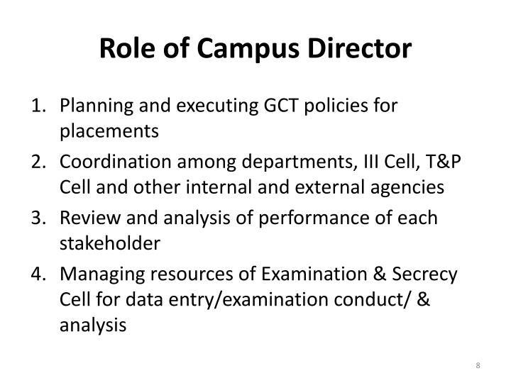 Role of Campus Director