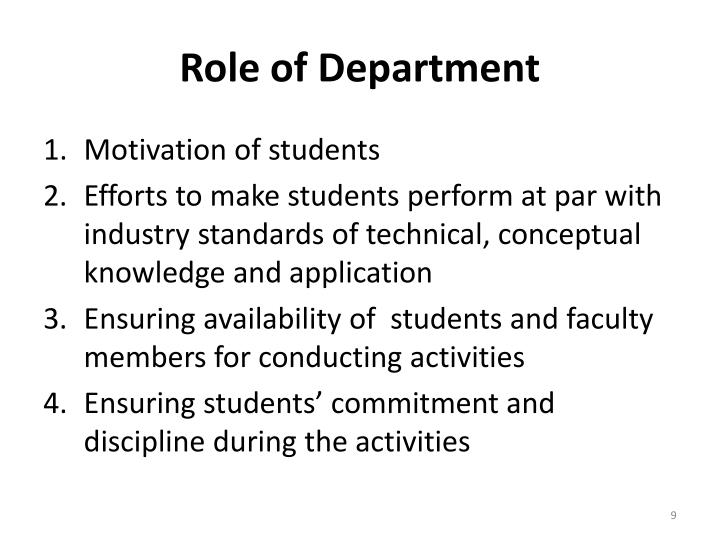 Role of Department