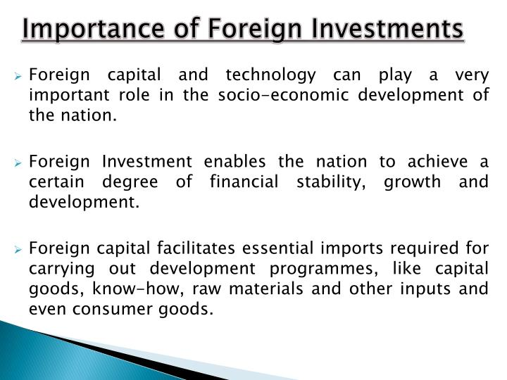 Importance of Foreign Investments